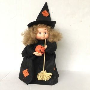 Vintage animated Halloween kids witch doll